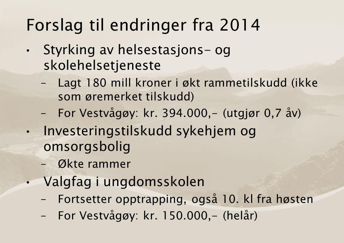 Forslag til endringer fra 2014 Styrking av helsestasjons- og skolehelsetjeneste –Lagt 180 mill kroner i økt rammetilskudd (ikke som øremerket tilskudd) –For Vestvågøy: kr.