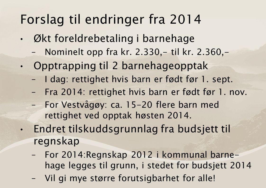 Forslag til endringer fra 2014 Økt foreldrebetaling i barnehage –Nominelt opp fra kr.