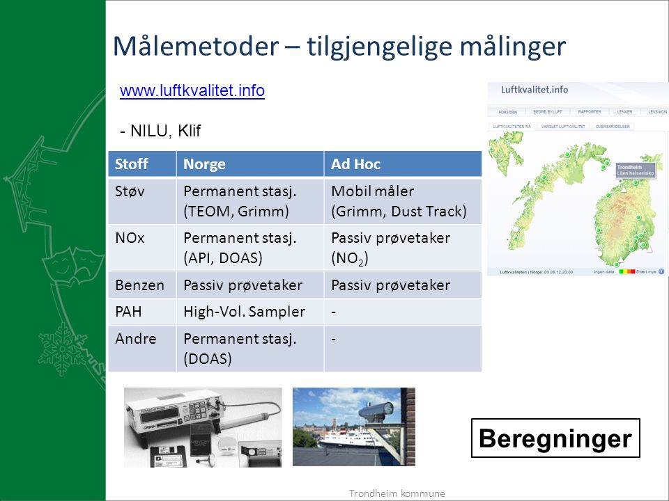 Trondheim kommune Målemetoder – tilgjengelige målinger www.luftkvalitet.info - NILU, Klif StoffNorgeAd Hoc StøvPermanent stasj.