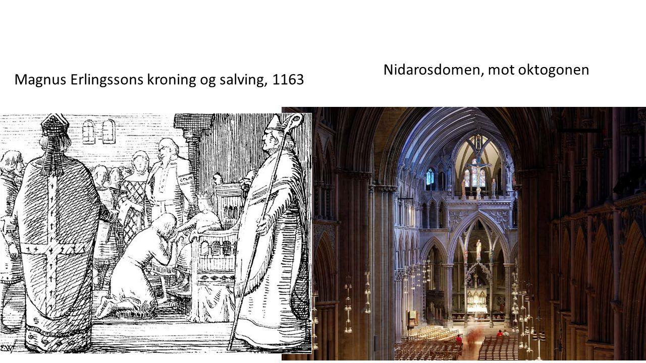 Magnus Erlingssons kroning og salving, 1163 Nidarosdomen, mot oktogonen