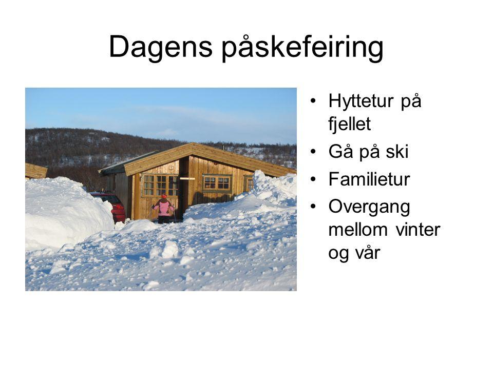 Dagens påskefeiring Hyttetur på fjellet Gå på ski Familietur Overgang mellom vinter og vår