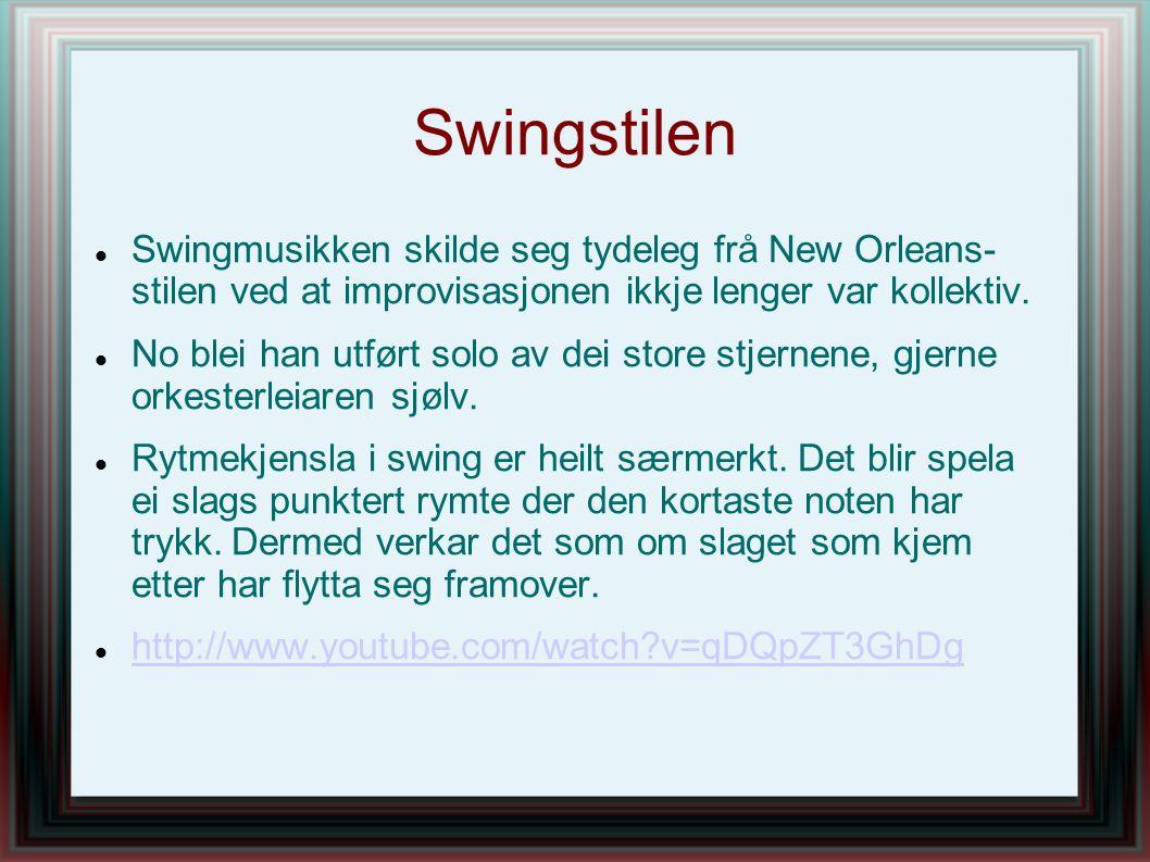 Swingstilen Swingmusikken skilde seg tydeleg frå New Orleans- stilen ved at improvisasjonen ikkje lenger var kollektiv. No blei han utført solo av dei