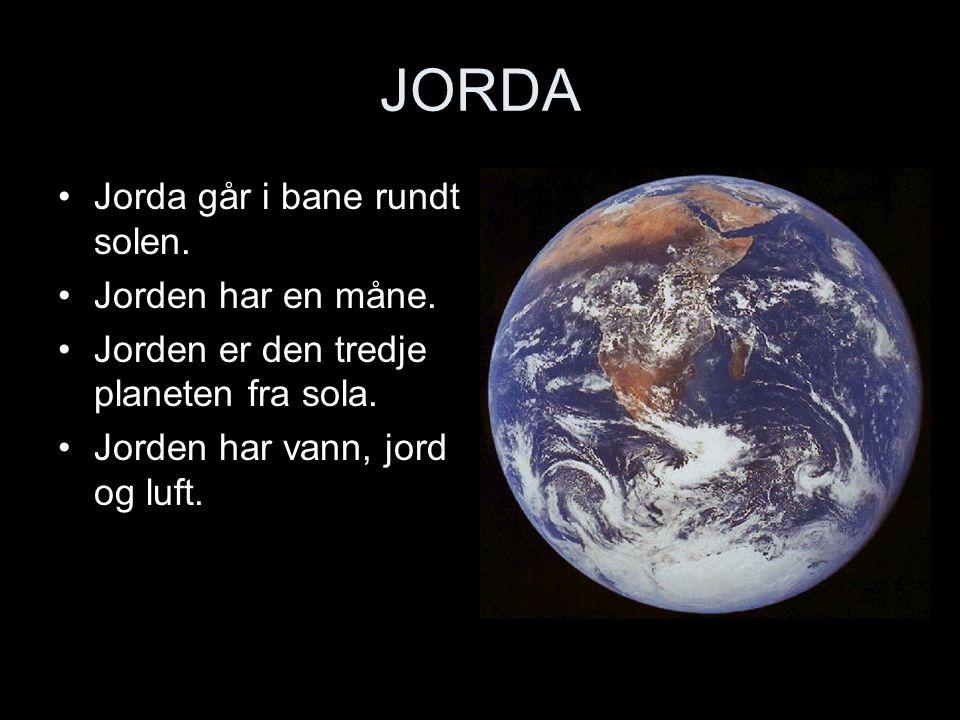 JORDA Jorda går i bane rundt solen. Jorden har en måne.