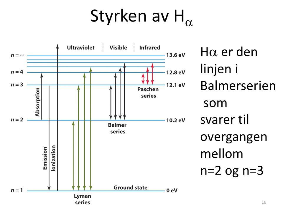 AST1010 - Stjerners natur16 Styrken av H  H  er den linjen i Balmerserien som svarer til overgangen mellom n=2 og n=3