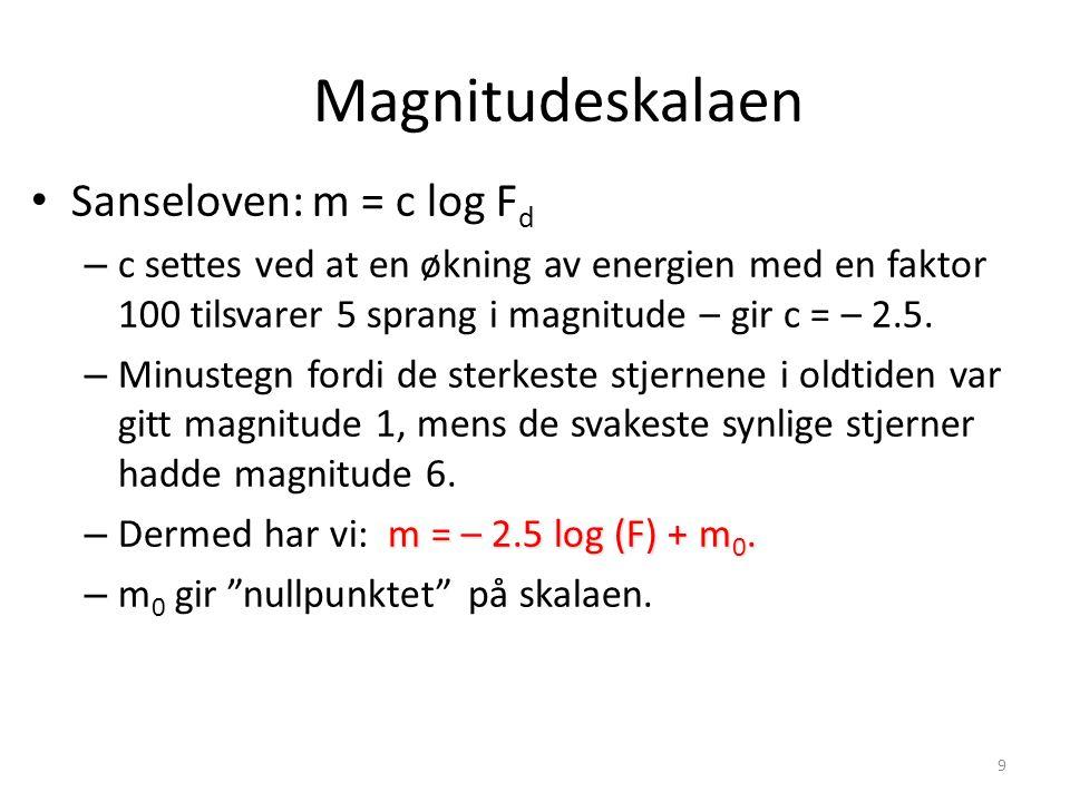 9 Sanseloven: m = c log F d – c settes ved at en økning av energien med en faktor 100 tilsvarer 5 sprang i magnitude – gir c = – 2.5. – Minustegn ford