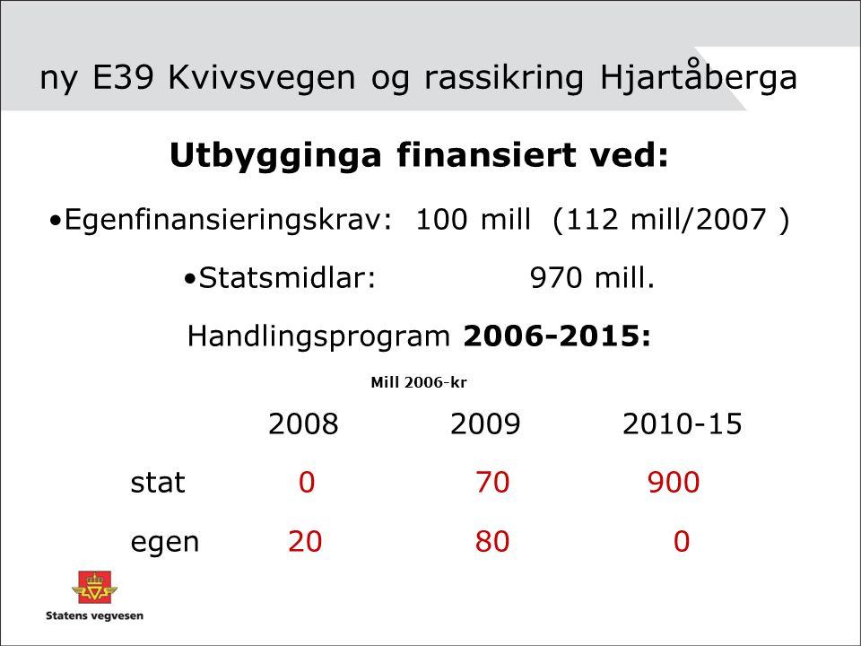 ny E39 Kvivsvegen og rassikring Hjartåberga Utbygginga finansiert ved: Egenfinansieringskrav: 100 mill (112 mill/2007 ) Statsmidlar: 970 mill.