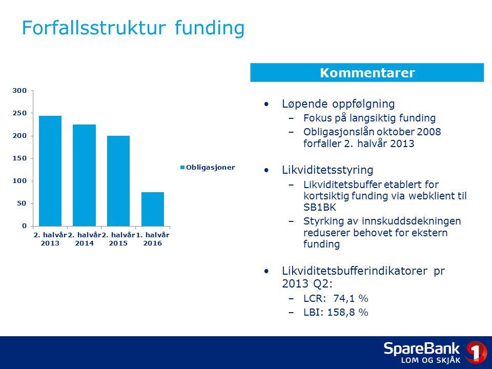 Forfallsstruktur funding Løpende oppfølgning –Fokus på langsiktig funding –Obligasjonslån oktober 2008 forfaller 2.