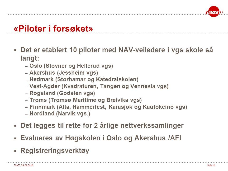 NAV, 24.09.2016Side 16 «Piloter i forsøket»  Det er etablert 10 piloter med NAV-veiledere i vgs skole så langt: – Oslo (Stovner og Hellerud vgs) – Akershus (Jessheim vgs) – Hedmark (Storhamar og Katedralskolen) – Vest-Agder (Kvadraturen, Tangen og Vennesla vgs) – Rogaland (Godalen vgs) – Troms (Tromsø Maritime og Breivika vgs) – Finnmark (Alta, Hammerfest, Karasjok og Kautokeino vgs) – Nordland (Narvik vgs.)  Det legges til rette for 2 årlige nettverkssamlinger  Evalueres av Høgskolen i Oslo og Akershus /AFI  Registreringsverktøy