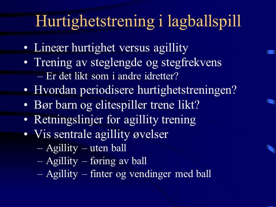 Hurtighetstrening i lagballspill Lineær hurtighet versus agillity Trening av steglengde og stegfrekvens –Er det likt som i andre idretter.