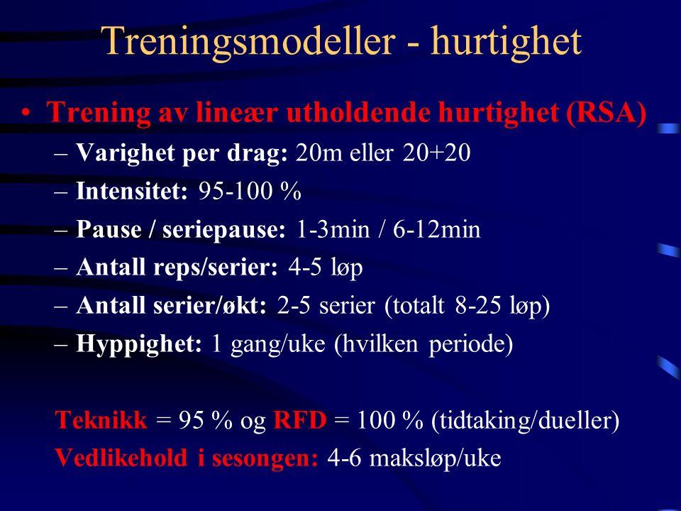 Treningsmodeller - hurtighet Trening av lineær utholdende hurtighet (RSA) –Varighet per drag: 20m eller 20+20 –Intensitet: 95-100 % –Pause / seriepause: 1-3min / 6-12min –Antall reps/serier: 4-5 løp –Antall serier/økt: 2-5 serier (totalt 8-25 løp) –Hyppighet: 1 gang/uke (hvilken periode) Teknikk = 95 % og RFD = 100 % (tidtaking/dueller) Vedlikehold i sesongen: 4-6 maksløp/uke
