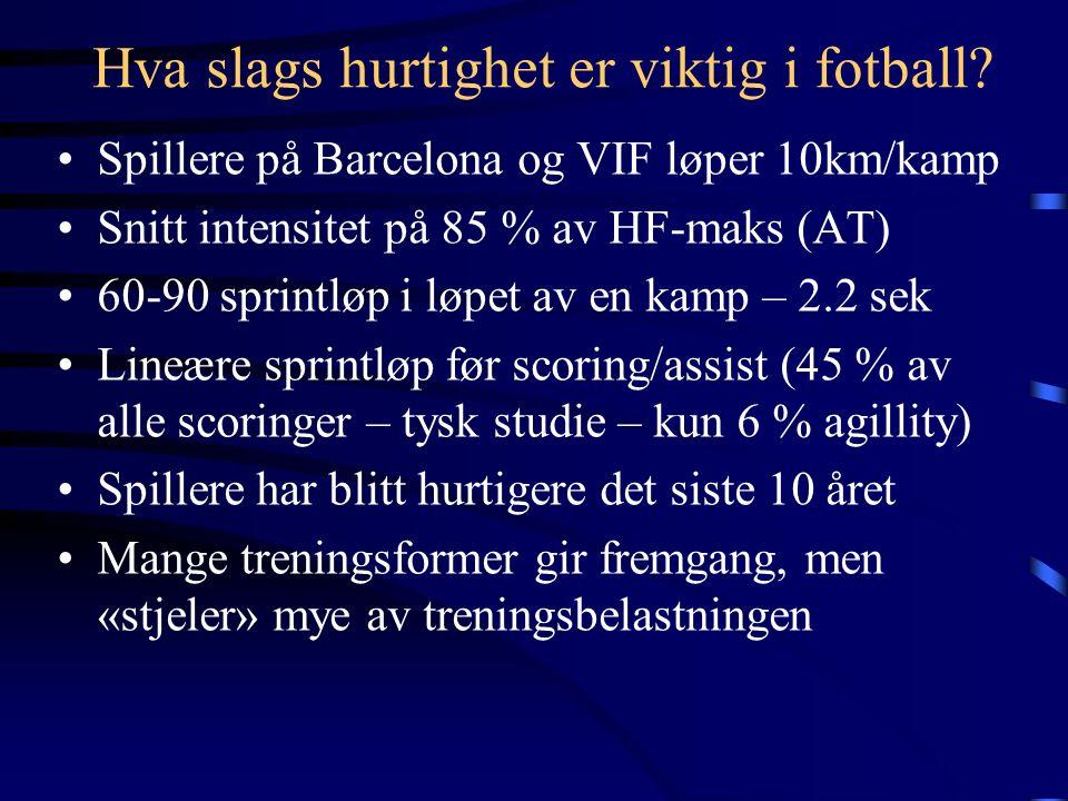 Hva slags hurtighet er viktig i fotball.