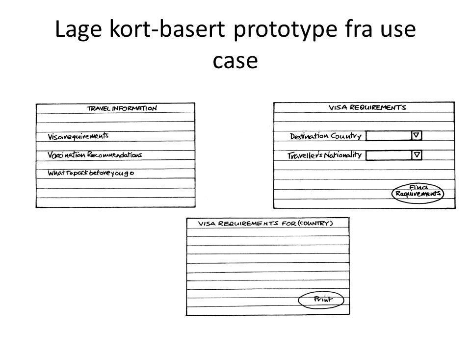 Lage kort-basert prototype fra use case