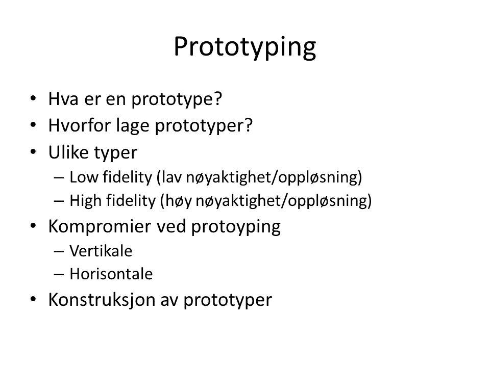 Prototyping Hva er en prototype. Hvorfor lage prototyper.