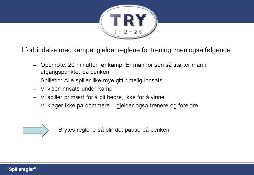 I forbindelse med kamper gjelder reglene for trening, men også følgende: –Oppmøte: 20 minutter før kamp.