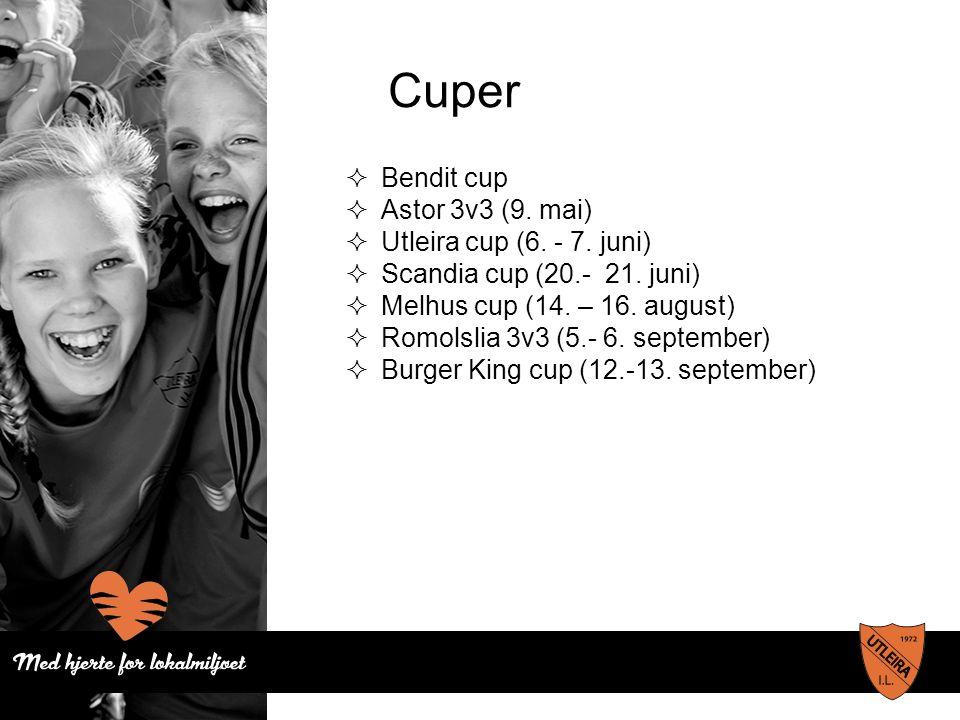 Cuper  Bendit cup  Astor 3v3 (9. mai)  Utleira cup (6. - 7. juni)  Scandia cup (20.- 21. juni)  Melhus cup (14. – 16. august)  Romolslia 3v3 (5.