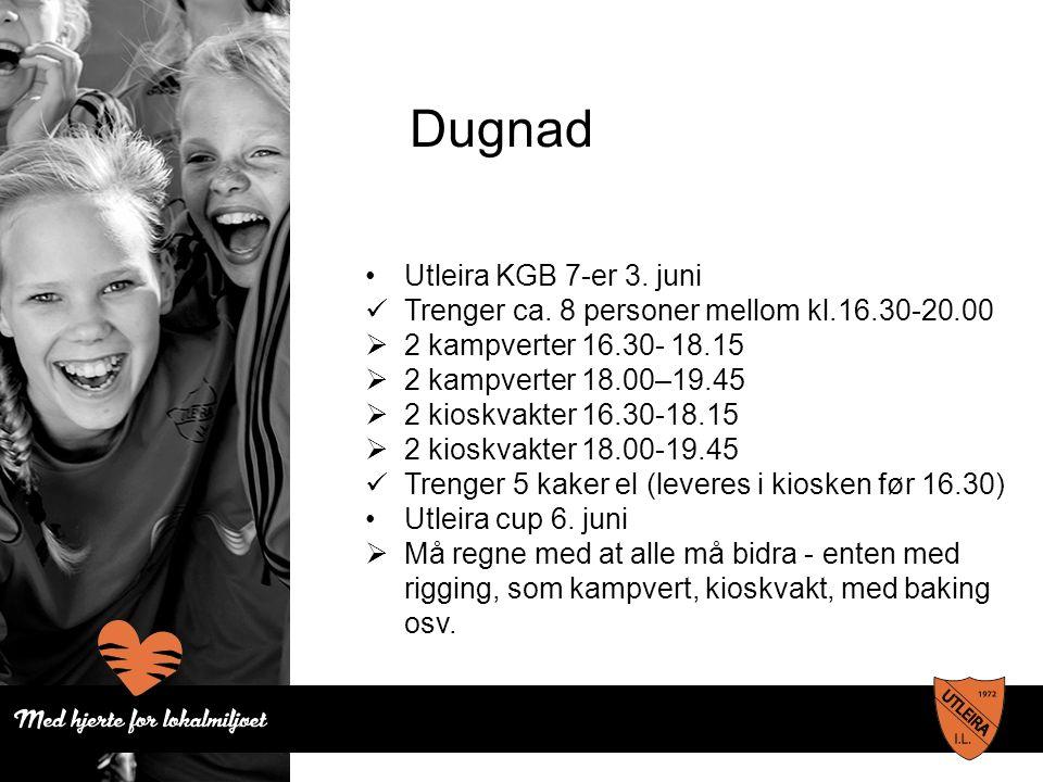 Dugnad Utleira KGB 7-er 3. juni Trenger ca. 8 personer mellom kl.16.30-20.00  2 kampverter 16.30- 18.15  2 kampverter 18.00–19.45  2 kioskvakter 16