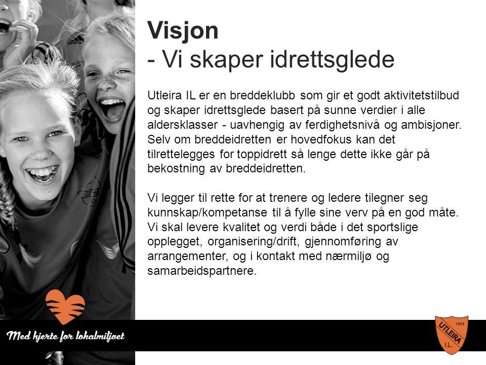 Visjon - Vi skaper idrettsglede Utleira IL er en breddeklubb som gir et godt aktivitetstilbud og skaper idrettsglede basert på sunne verdier i alle aldersklasser - uavhengig av ferdighetsnivå og ambisjoner.