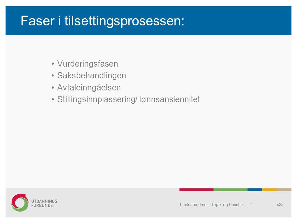Faser i tilsettingsprosessen: Vurderingsfasen Saksbehandlingen Avtaleinngåelsen Stillingsinnplassering/ lønnsansiennitet Tittelen endres i Topp- og Bunntekst... s23