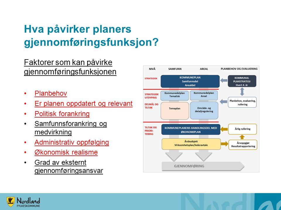 Hva påvirker planers gjennomføringsfunksjon.