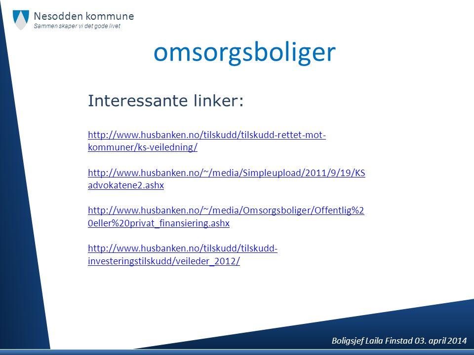 omsorgsboliger Interessante linker: http://www.husbanken.no/tilskudd/tilskudd-rettet-mot- kommuner/ks-veiledning/ http://www.husbanken.no/~/media/Simp