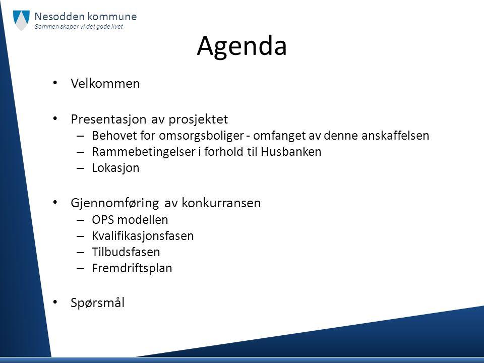 Agenda Velkommen Presentasjon av prosjektet – Behovet for omsorgsboliger - omfanget av denne anskaffelsen – Rammebetingelser i forhold til Husbanken –