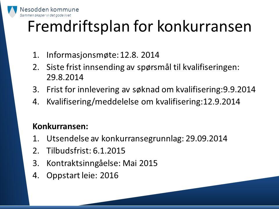 Fremdriftsplan for konkurransen Nesodden kommune Sammen skaper vi det gode livet 1.Informasjonsmøte: 12.8. 2014 2.Siste frist innsending av spørsmål t
