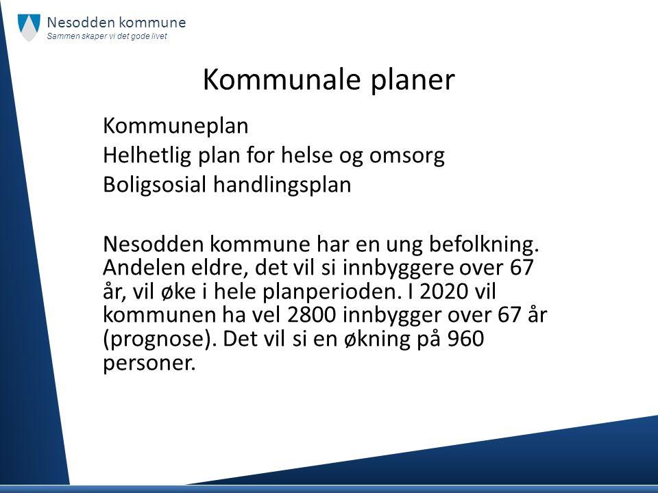 Kommunale planer Kommuneplan Helhetlig plan for helse og omsorg Boligsosial handlingsplan Nesodden kommune har en ung befolkning. Andelen eldre, det v