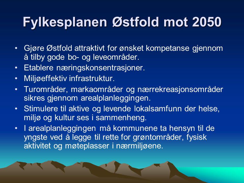 Fylkesplanen Østfold mot 2050 Gjøre Østfold attraktivt for ønsket kompetanse gjennom å tilby gode bo- og leveområder.