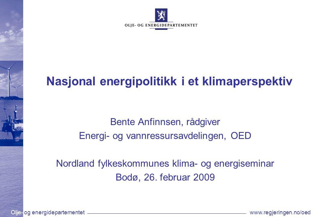 Olje- og energidepartementetwww.regjeringen.no/oed Verdens energibehov øker Kilde: IEA IEA forventer at verdens energibehov vil øke med 45 % innen 2030 80 % av behovet vil dekkes av fossile kilder