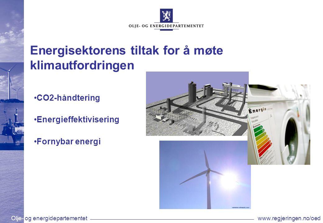 Olje- og energidepartementetwww.regjeringen.no/oed Energisektorens tiltak for å møte klimautfordringen CO2-håndtering Energieffektivisering Fornybar energi
