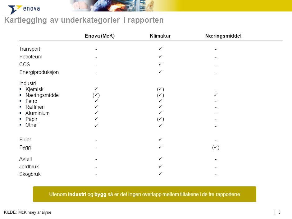 | 3 Kartlegging av underkategorier i rapporten KILDE: McKinsey analyse Industri ▪ Kjemisk ▪ Næringsmiddel ▪ Ferro ▪ Raffineri ▪ Aluminium ▪ Papir ▪ Ot