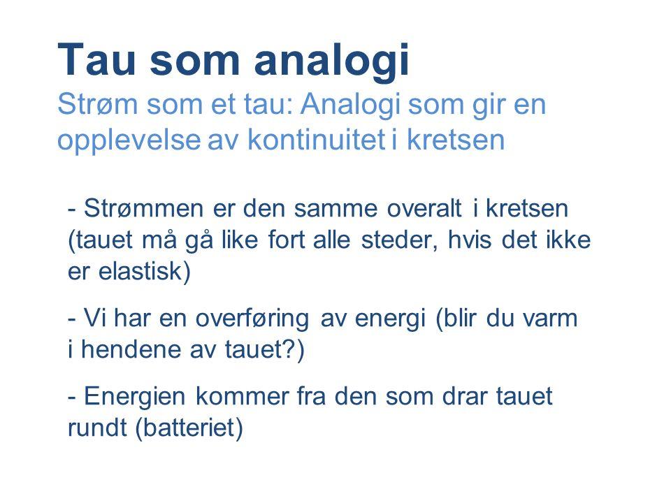 Tau som analogi Strøm som et tau: Analogi som gir en opplevelse av kontinuitet i kretsen - Strømmen er den samme overalt i kretsen (tauet må gå like fort alle steder, hvis det ikke er elastisk) - Vi har en overføring av energi (blir du varm i hendene av tauet?) - Energien kommer fra den som drar tauet rundt (batteriet)