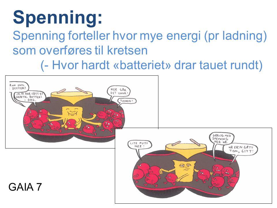 Spenning: Spenning forteller hvor mye energi (pr ladning) som overføres til kretsen (- Hvor hardt «batteriet» drar tauet rundt) GAIA 7