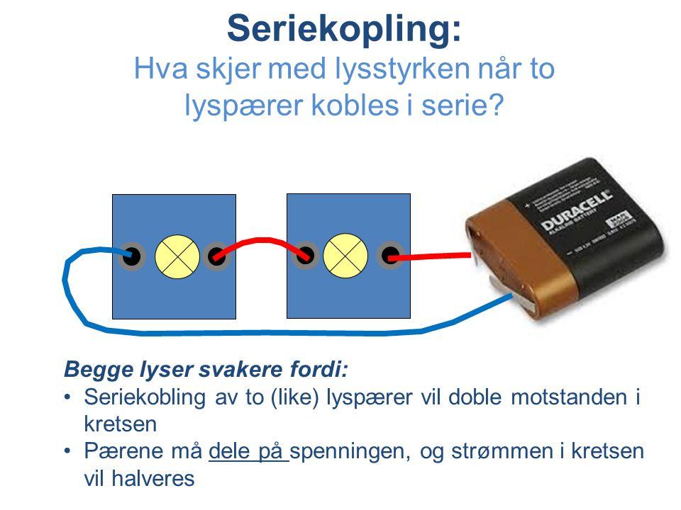 Seriekopling: Hva skjer med lysstyrken når to lyspærer kobles i serie.