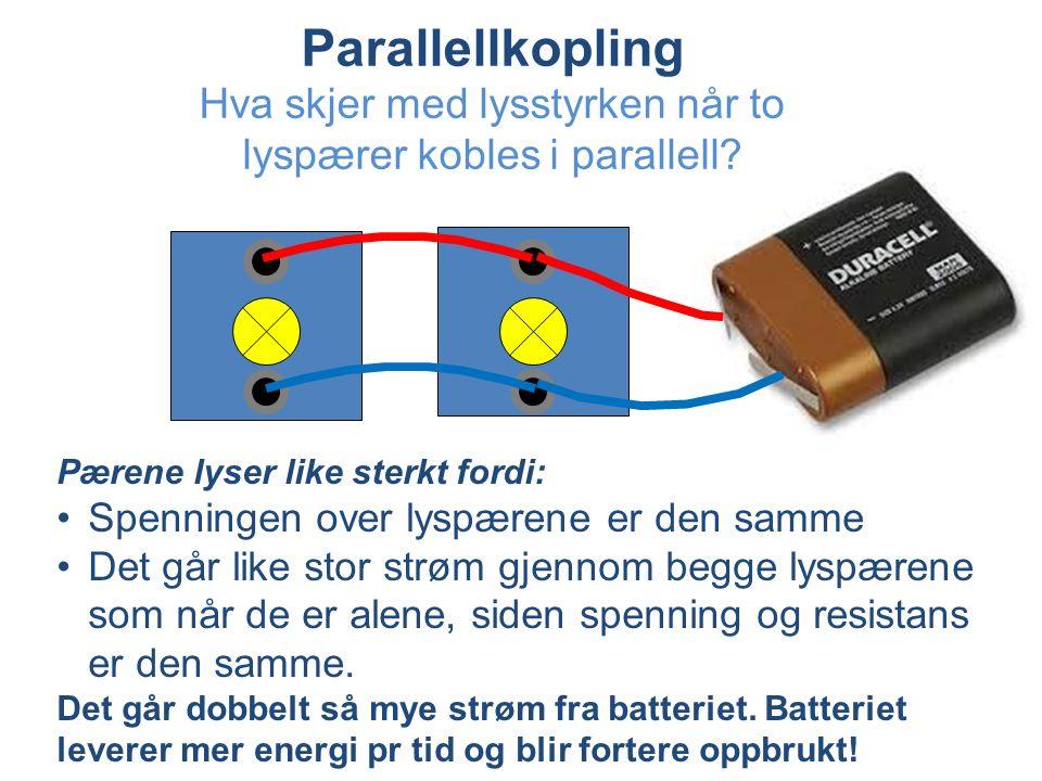 Parallellkopling Hva skjer med lysstyrken når to lyspærer kobles i parallell.