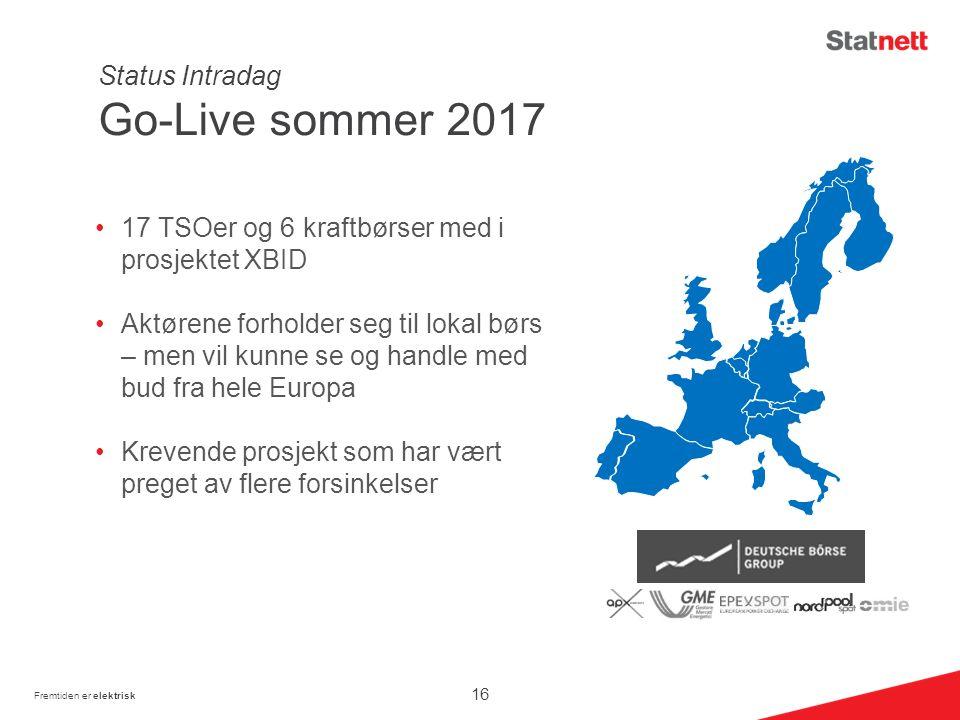 Status Intradag Go-Live sommer 2017 17 TSOer og 6 kraftbørser med i prosjektet XBID Aktørene forholder seg til lokal børs – men vil kunne se og handle med bud fra hele Europa Krevende prosjekt som har vært preget av flere forsinkelser Fremtiden er elektrisk 16