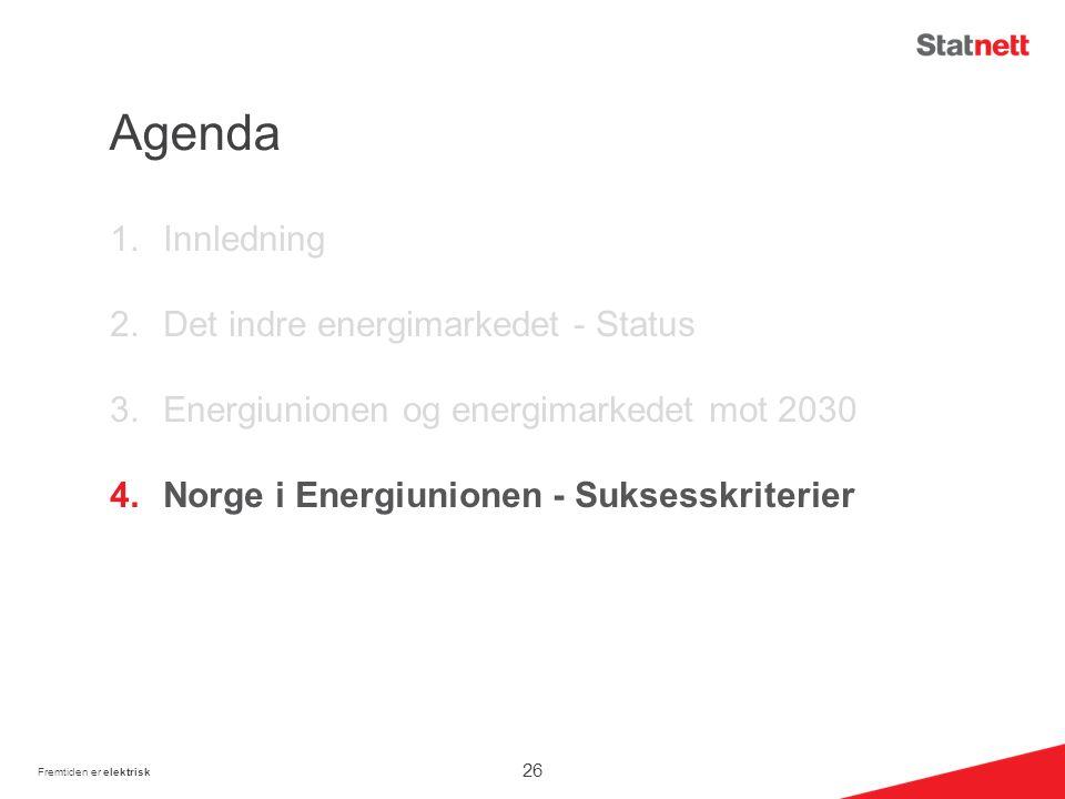 Agenda 1.Innledning 2.Det indre energimarkedet - Status 3.Energiunionen og energimarkedet mot 2030 4.Norge i Energiunionen - Suksesskriterier Fremtiden er elektrisk 26