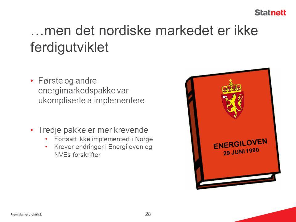 …men det nordiske markedet er ikke ferdigutviklet Første og andre energimarkedspakke var ukompliserte å implementere Tredje pakke er mer krevende Fortsatt ikke implementert i Norge Krever endringer i Energiloven og NVEs forskrifter Fremtiden er elektrisk ENERGILOVEN 29 JUNI 1990 28