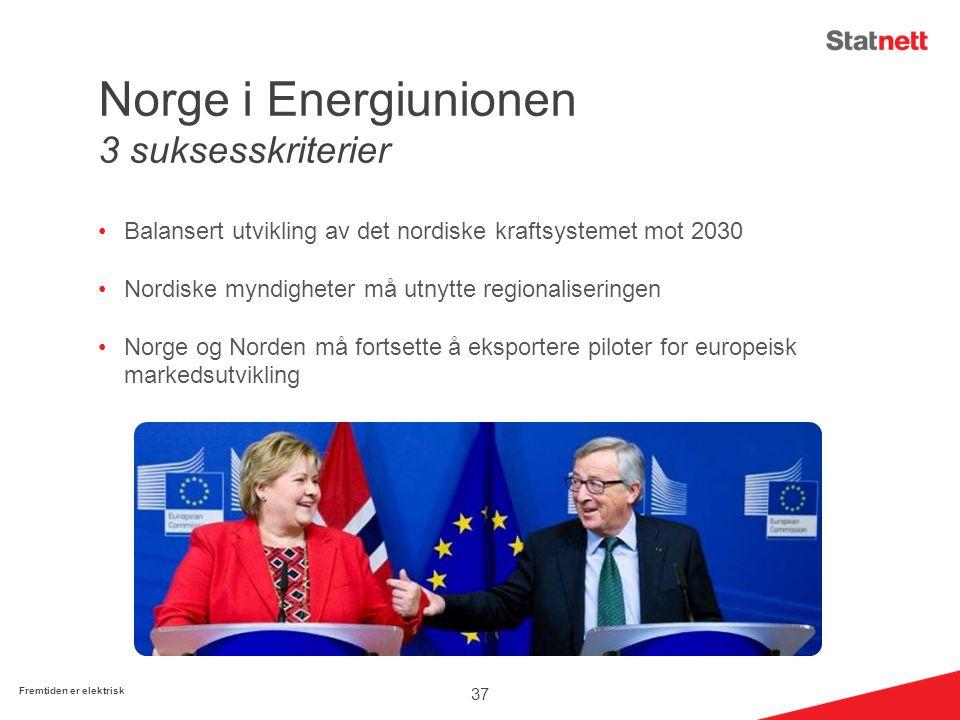 Norge i Energiunionen 3 suksesskriterier Balansert utvikling av det nordiske kraftsystemet mot 2030 Nordiske myndigheter må utnytte regionaliseringen Norge og Norden må fortsette å eksportere piloter for europeisk markedsutvikling 37 Fremtiden er elektrisk