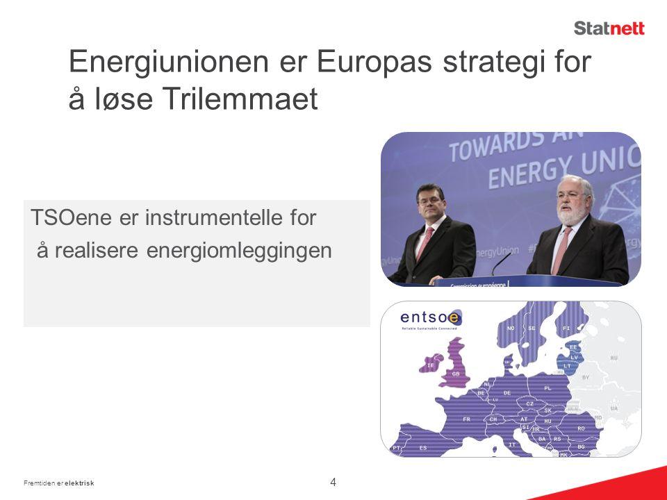 Energiunionen er Europas strategi for å løse Trilemmaet Fremtiden er elektrisk TSOene er instrumentelle for å realisere energiomleggingen 4