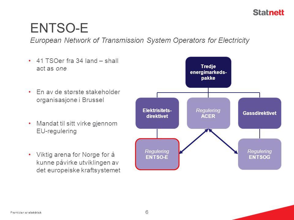 41 TSOer fra 34 land – shall act as one En av de største stakeholder organisasjone i Brussel Mandat til sitt virke gjennom EU-regulering Viktig arena for Norge for å kunne påvirke utviklingen av det europeiske kraftsystemet Fremtiden er elektrisk Tredje energimarkeds- pakke Regulering ACER Regulering ENTSOG Regulering ENTSO-E Gassdirektivet Elektrisitets- direktivet ENTSO-E European Network of Transmission System Operators for Electricity 6