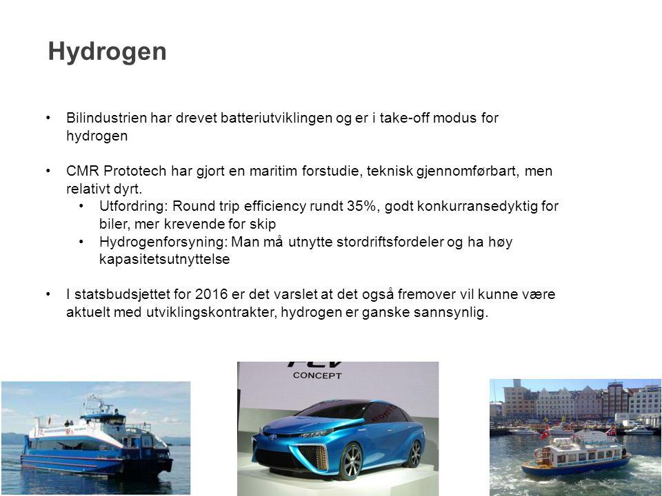 Hydrogen 15 Bilindustrien har drevet batteriutviklingen og er i take-off modus for hydrogen CMR Prototech har gjort en maritim forstudie, teknisk gjen