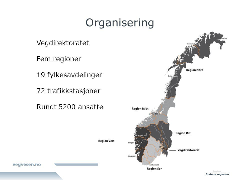 Organisering Vegdirektoratet Fem regioner 19 fylkesavdelinger 72 trafikkstasjoner Rundt 5200 ansatte