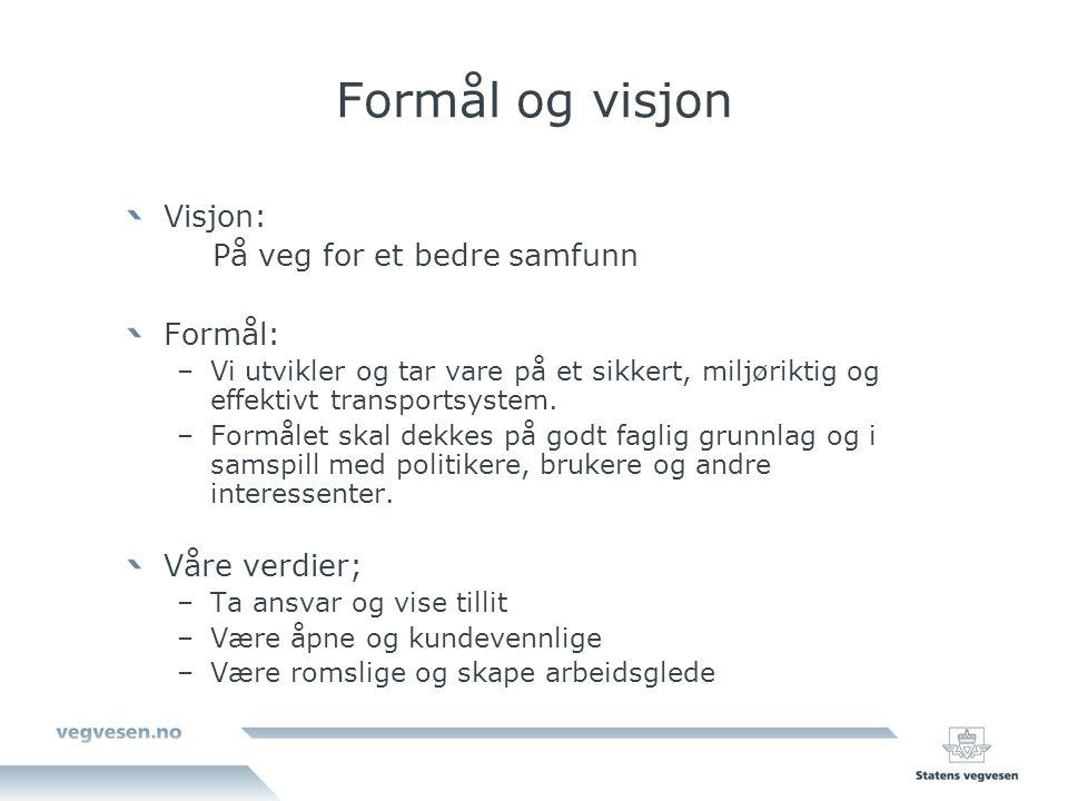 Formål og visjon Visjon: På veg for et bedre samfunn Formål: –Vi utvikler og tar vare på et sikkert, miljøriktig og effektivt transportsystem.