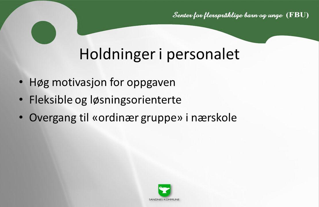 Holdninger i personalet Høg motivasjon for oppgaven Fleksible og løsningsorienterte Overgang til «ordinær gruppe» i nærskole