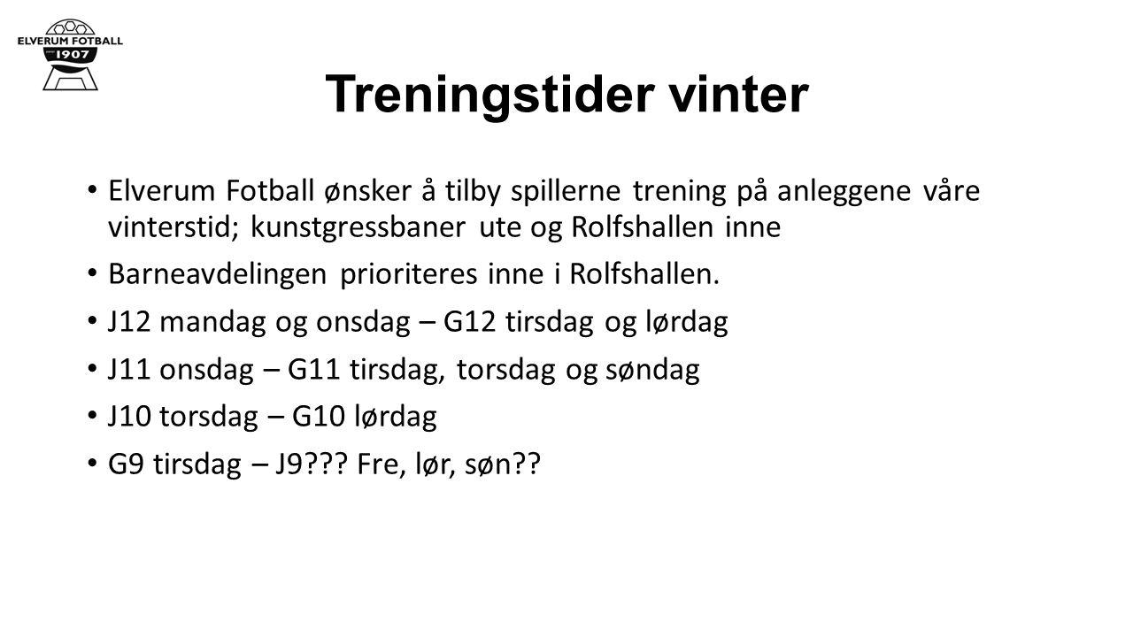Treningstider vinter Elverum Fotball ønsker å tilby spillerne trening på anleggene våre vinterstid; kunstgressbaner ute og Rolfshallen inne Barneavdelingen prioriteres inne i Rolfshallen.