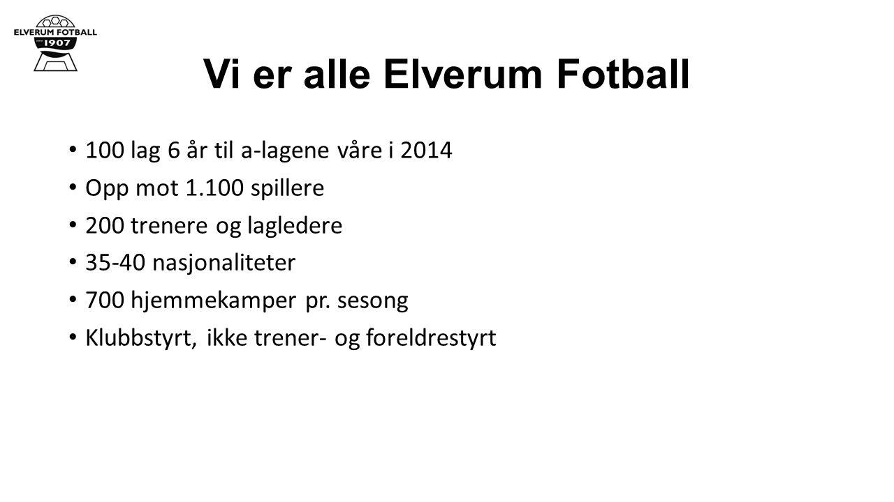 Vi er alle Elverum Fotball 100 lag 6 år til a-lagene våre i 2014 Opp mot 1.100 spillere 200 trenere og lagledere 35-40 nasjonaliteter 700 hjemmekamper pr.