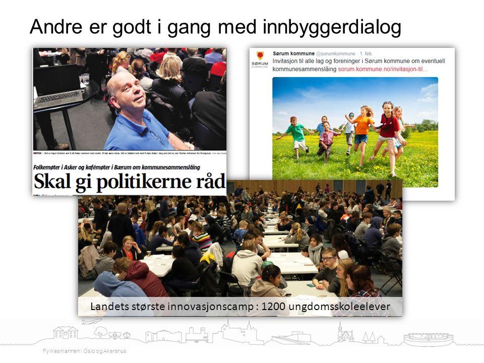 Andre er godt i gang med innbyggerdialog Fylkesmannen i Oslo og Akershus Landets største innovasjonscamp : 1200 ungdomsskoleelever
