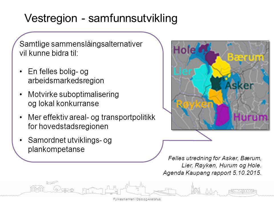 Vestregion - samfunnsutvikling Fylkesmannen i Oslo og Akershus Samtlige sammenslåingsalternativer vil kunne bidra til: En felles bolig- og arbeidsmark