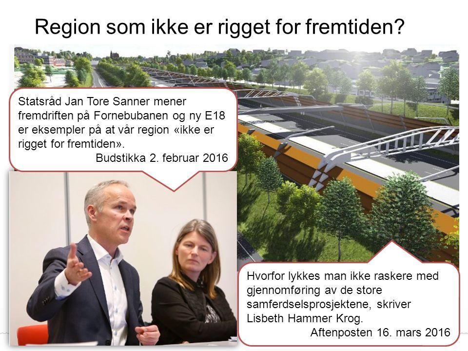 Region som ikke er rigget for fremtiden? Fylkesmannen i Oslo og Akershus Statsråd Jan Tore Sanner mener fremdriften på Fornebubanen og ny E18 er eksem